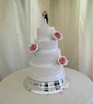 Pink and Lace 4 Tier Wedding Cake