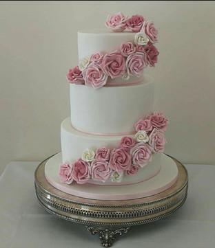 Pink Cascading Wedding Cake