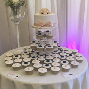 Top Tier & Navy & Cream Cupcakes