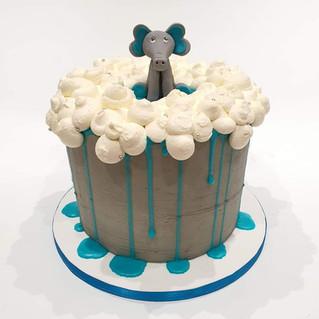 Elephant Baby Shower Cake - tall.