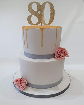 2 Tier 80th Birthday Cake