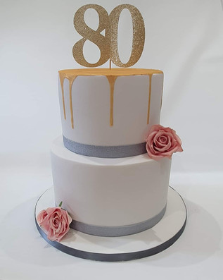 2 Tier 80th Birthday Cake