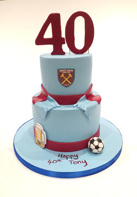 2 Tier West Ham Cake