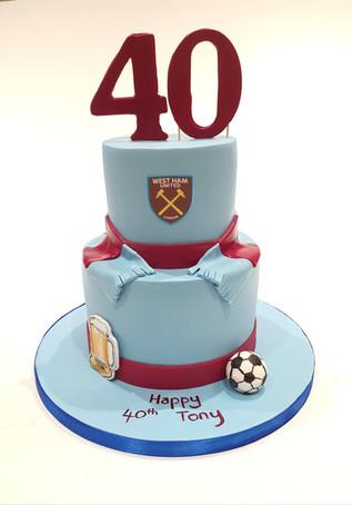 2 Tier West Ham Cake
