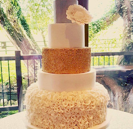Gold & Ruffles 5 Tier Wedding Cake