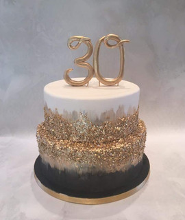 Black & Gold 30th Cake