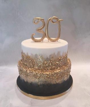 Black & Gold 30th Cake