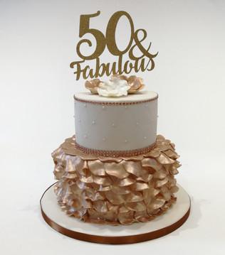 2 Tier Gold Ruffle Cake