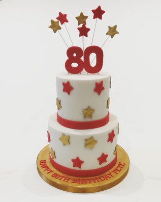 2 Tier Red and Gold Cake