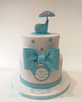 2 Tier Elephant Christening Cake