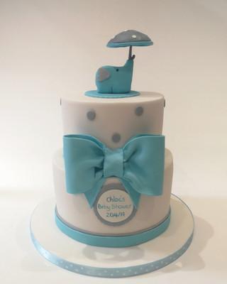 2 Tier Elephant Christening Cake