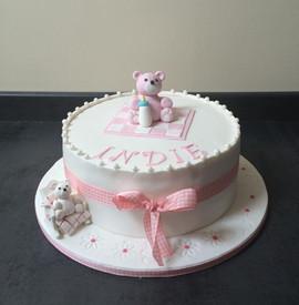 Pink Teddy Christening Cake