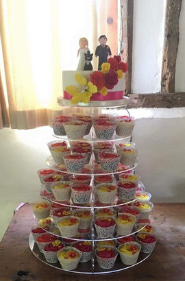 Top Tier & Pink & Yellow Cupcakes