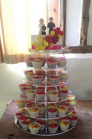 Top Tier & Pink & Yellow Cupcakes