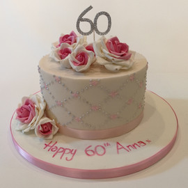 Pink 60th Birthday Cake