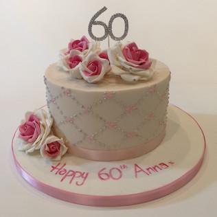 Pink 60th Birthday Cake