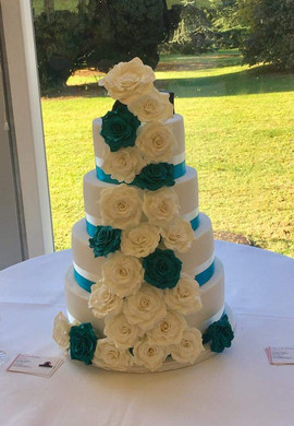4 Tier Green & Ivory Wedding Cake
