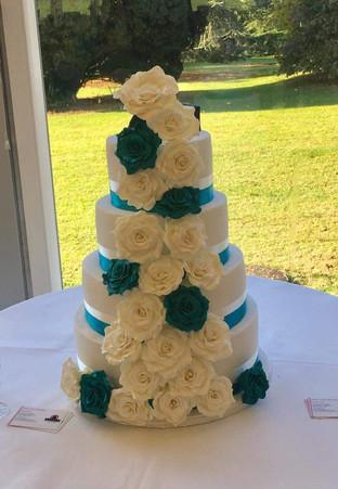 4 Tier Green & Ivory Wedding Cake
