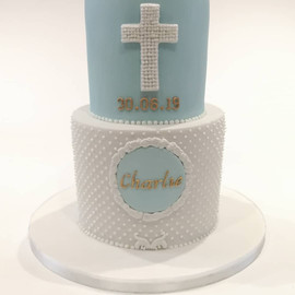 2 Tier Blue Christening Cake