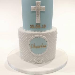 2 Tier Blue Christening Cake