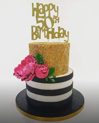 2 Tier Black and Gold Cake