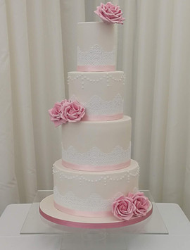 4 Tier Pink & Lace