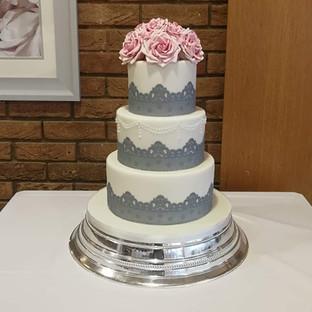 3 Tier Light Grey & Pink Wedding Cake