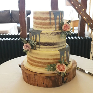 Naked Silver Drip Wedding Cake