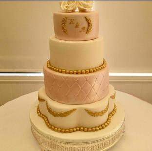 Gold & Pink 4 Tier Wedding Cake
