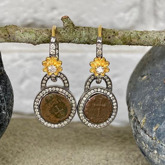 Cross Coin Dangle Earrings