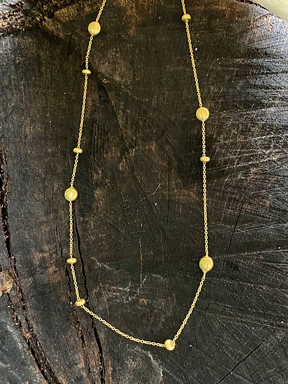 Abstract Gold Bead Chain Necklace