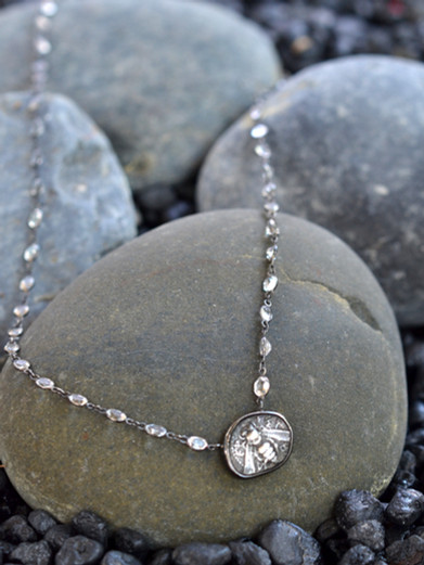 Silver Bee Coin and White Sapphire Necklace