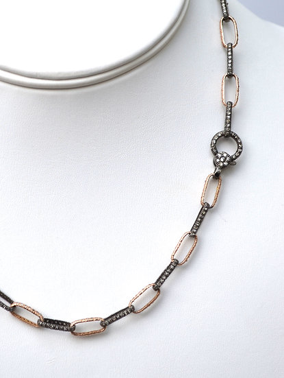 Rose Gold, Oxidized Silver and Diamond Link