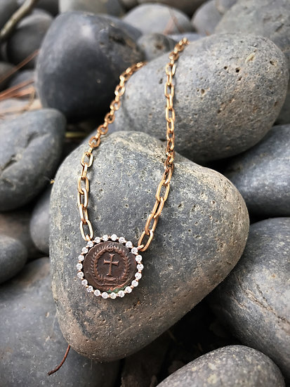Rose Gold Cross Coin Necklace