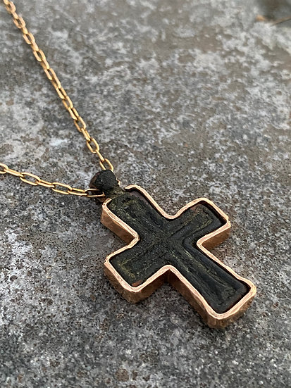 Byzantine Bronze Cross Necklace