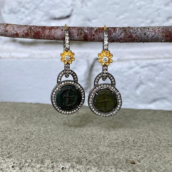 Cross Coin Dangle Earrings II