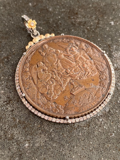Large Religious Medal and Diamond Necklace