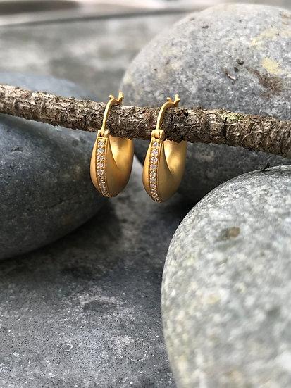 Puffed Gold and Diamond Earrings