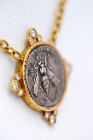 Silver Bee Coin Necklace