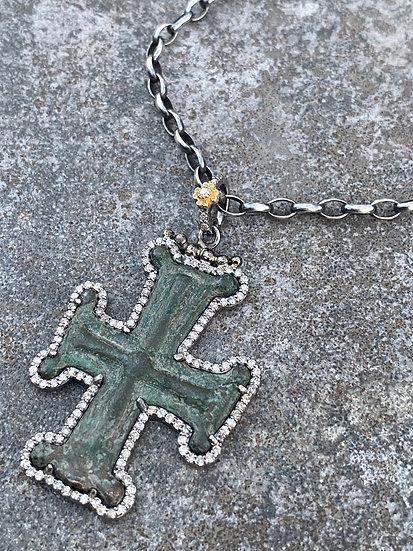 Byzantine Diamond Cross Necklace