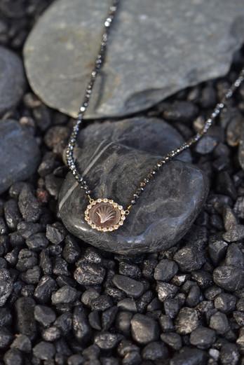 Black Diamond Shell Coin Necklace