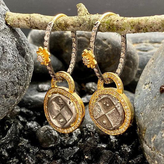 Ancient Greek Coin Dangle Earrings