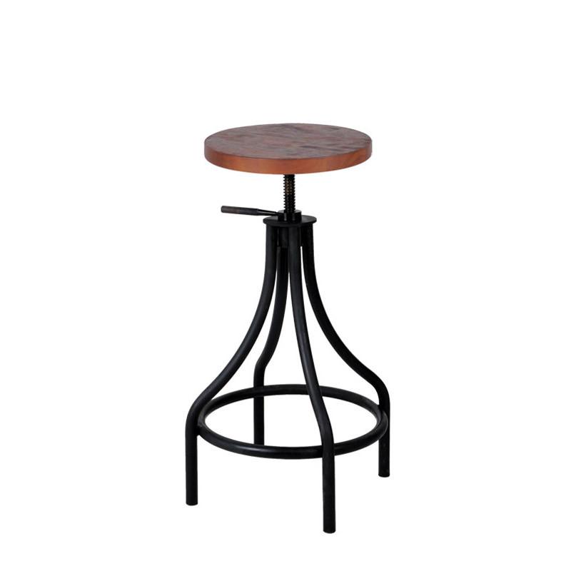 Inicio bistro adjustable highstool with rubberwood seat (1)