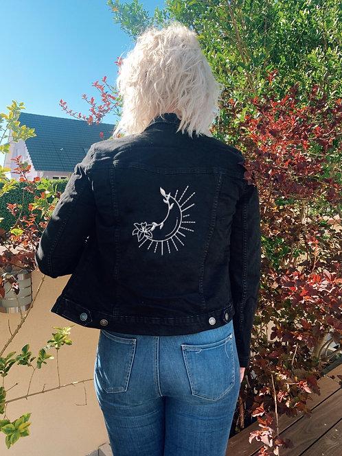 Veste en jeans brodée Solis Lunae pour femme