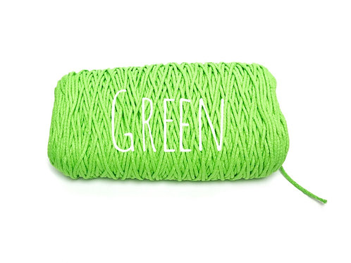 Cotton yarn - Green 3mm for Macrame / Crochet / Knitting