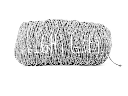 Cotton yarn - Light Grey - 3mm for Macrame / Crochet / Knitting