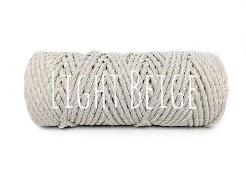 Twisted 3ply Cotton Yarn - Light Beige 3mm