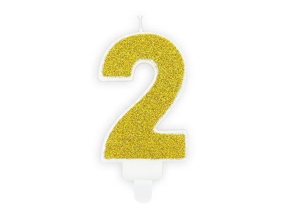 Świeczka Urodzinowa brokat Złoty - no.2
