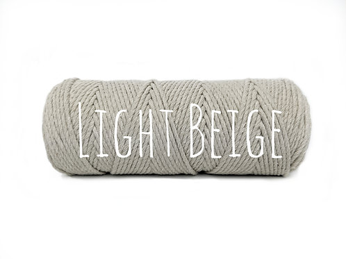 Twisted 3ply Cotton Rope - Light Beige 2mm