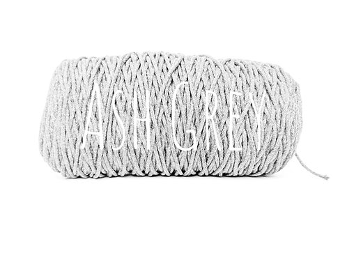 Cotton yarn - Ash Grey - 3mm for Macrame / Crochet / Knitting